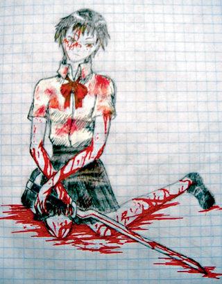 ...Настя подписывает их так: «Когда у меня депрессия, я рисую кровавые работы»