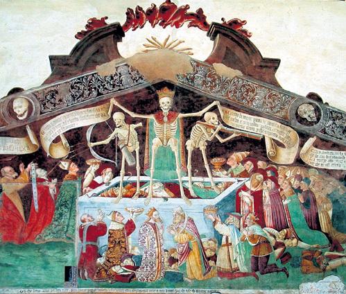 В Средневековье эпидемии страшных болезней выкашивали целые города. Фреска «Пляски смерти» в часовне Ораторио деи Дишиплини. Клузоне (Италия), XV в.