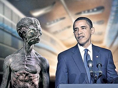 Согласно проведённому в США опросу, 67 процентов американцев уверены, что их президент ведет переговоры с инопланетянами, а 12 процентов его самого считают инопланетянином