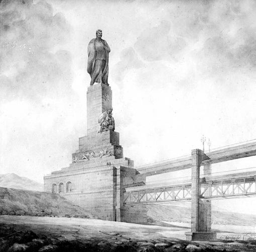 Эскизы проекта моста, созданные в 1949 году, поражают воображение. Прибывающих в Крым граждан должен был встречать товарищ СТАЛИН