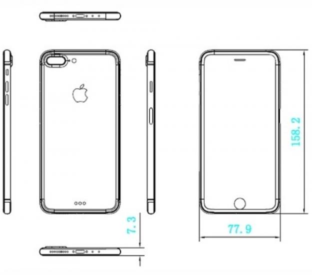 Чертежи iPhone 7 Plus