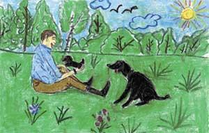 ПОЛИНА МИХАЛЬСКАЯ (12 лет), г. УФА: «Президент и его собака Кони отдыхают в заповеднике»