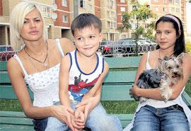 ИРИНА: с сыном от Круга - Сашей и своей дочерью от первого брака - Мариной