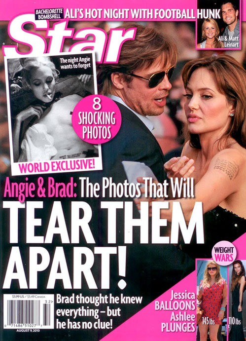 Обложка Star Magazine со снимком Анджелины Джоли топлесс, с косячком в зубах и удавкой на шее.