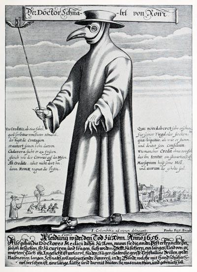 Так в Средневековье выглядел «чумной доктор». Маска в форме ключа набивалась ватой, пропитанной благовониями. wikipedia