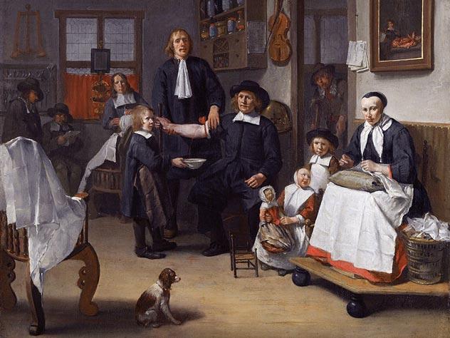Кровопускание в живописи. Egbert van Heemskerck, 1669