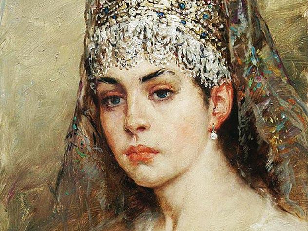 «Боярышня», художник К. Маковский, 1880-е гг. gallerix.ru