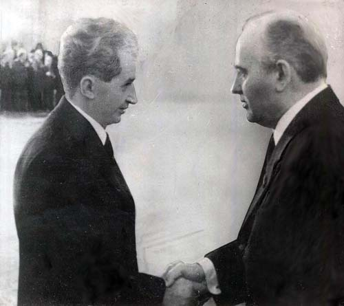 Встреча Михаила Горбачева и Николае Чаушеску. wikipedia