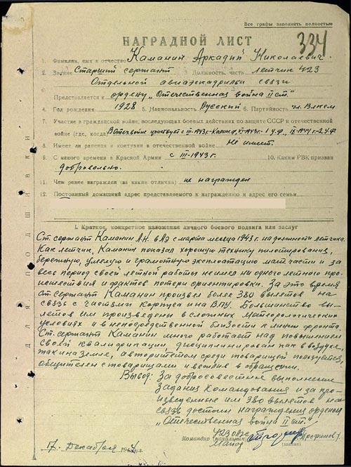 Наградной лист Аркадия Каманина на представление к ордену «Отечественная война II степени» от 1944 г. Тогда юный летчик получил «Красную звезду». Источник: wikipedia.org