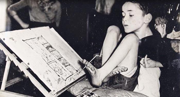 Кристи Браун, ДЦП не помешало ему стать известным романистом и художником. Кадр YouTube